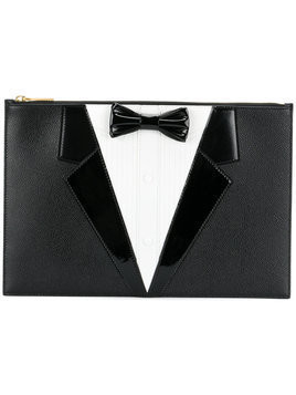Thom Browne - dinner suit clutch - Damen - Calf Leather/Patent Leather/Leather - One Size - Black