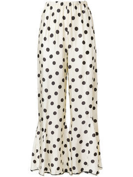 Hache polka-dot flared trousers - Nude & Neutrals