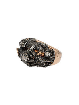 Bibi Van Der Velden 18k Rose Gold Diamond panther double ring - Metallic
