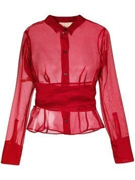 Romeo Gigli Pre-Owned belted sheer shirt - Red
