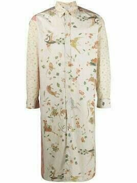 Pierre-Louis Mascia floral-print long-line shirt - Neutrals