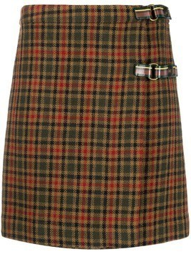 Etro checked wrap mini skirt - Green