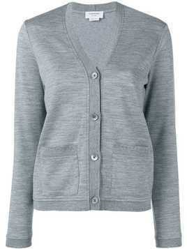 Thom Browne Pointelle Rib Trims Cardigan - Grey