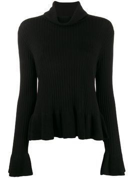 Edward Achour Paris ribbed peplum hem top - Black