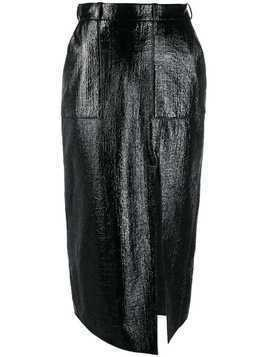 David Koma wet look pencil skirt - Black