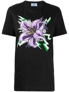 Prada graphic flower print T-shirt - Black