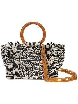 Carolina Santo Domingo Corallina raffia tote - Black