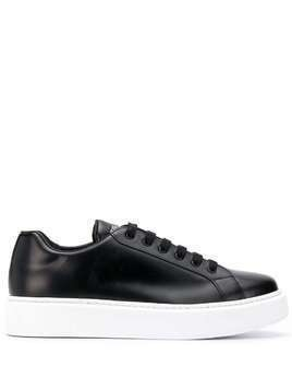 Prada leather low-top sneakers - Black