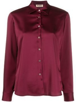 Blanca point-collar satin shirt - Red
