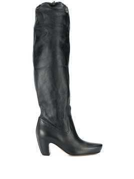 LANVIN brushed leather almond boots - Black