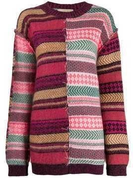 Maison Flaneur patch-work embroidered jumper - Pink