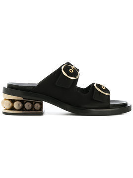 Nicholas Kirkwood 50mm Casati two-strap pearl sandals - Black
