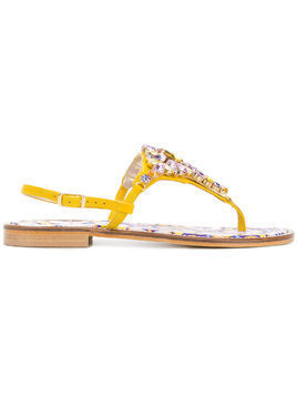 Emanuela Caruso embellished sandals - Yellow
