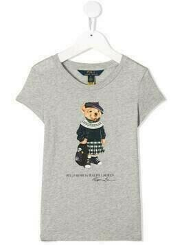 Ralph Lauren Kids backpack bear short-sleeved T-shirt - Grey