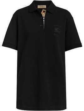 Burberry Check Placket Cotton Piqué Polo Shirt - Black