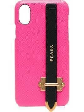 Prada pink logo strap leather iPhone X case - Pink & Purple