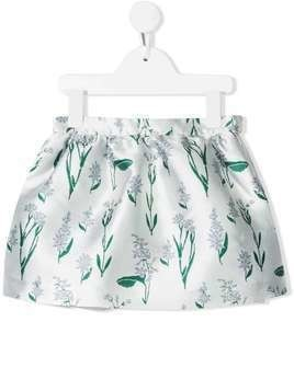 Hucklebones London gathered flower-print skirt - Blue