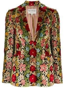 Etro floral single-breasted blazer - NEUTRALS