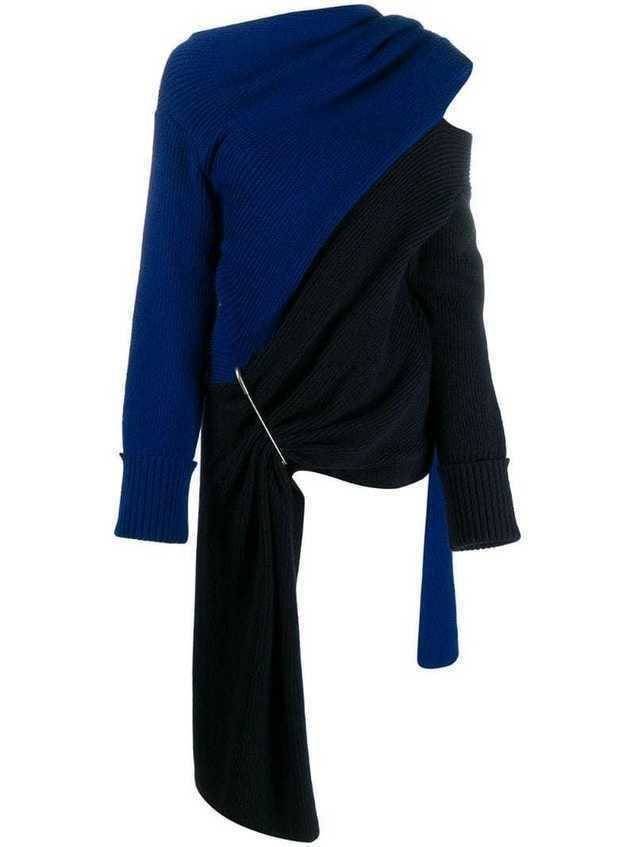 Monse two-tone scarf-neck asymmetric top - Blue