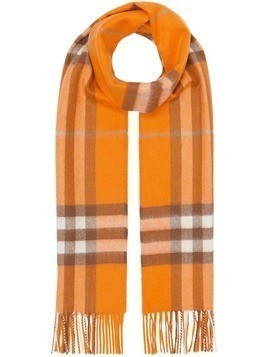 Burberry The Classic Check Cashmere Scarf - Orange