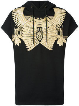 Les Hommes golden embroidery sleeveless hoodie - Black