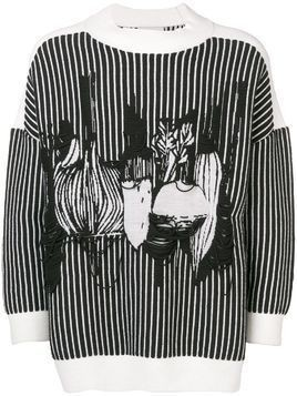 Henrik Vibskov striped vege print jumper - Black