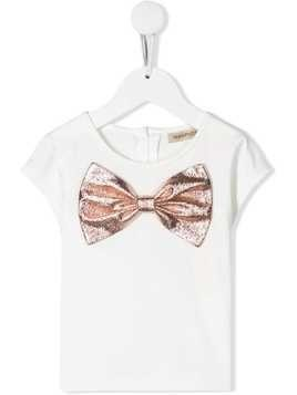 Hucklebones London metallic-effect bow t-shirt - White