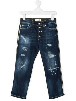 Dondup Kids two-tone distressed detail jeans - Blue