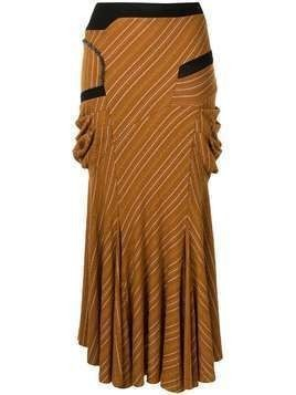 Kiko Kostadinov striped flared midi skirt - Brown