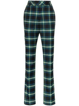 Matthew Adams Dolan High-Waisted Checked Trousers - Blue