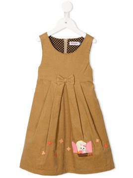 Miki House - bunny embroidered dress - Kinder - Cotton - 2 yrs - Brown