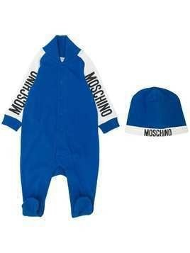 Moschino Kids logo printed pajama set - Blue