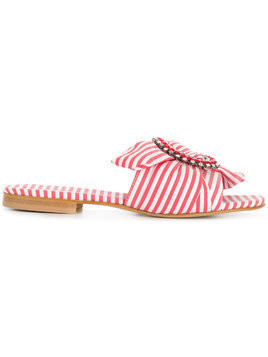 Emanuela Caruso striped mules - Red