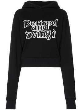 Ashley Williams slogan print cropped cotton hoodie - Black