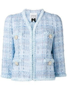 Edward Achour Paris short tweed jacket - Blue