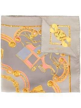 Céline Pre-Owned chain print scarf - Grey