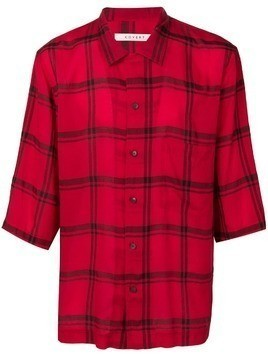 Covert checked cropped sleeve shirt - Red