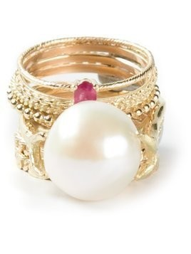 Wouters & Hendrix Gold 'Pearl & Ruby' set of 9 rings - Metallic