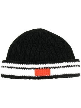 Gcds white trim knitted beanie - Black