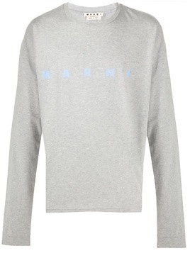 Marni logo print long-sleeved T-shirt - Grey