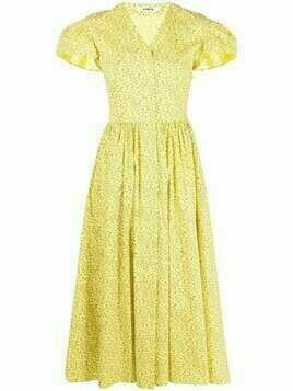 Vivetta floral-print V-neck dress - Yellow