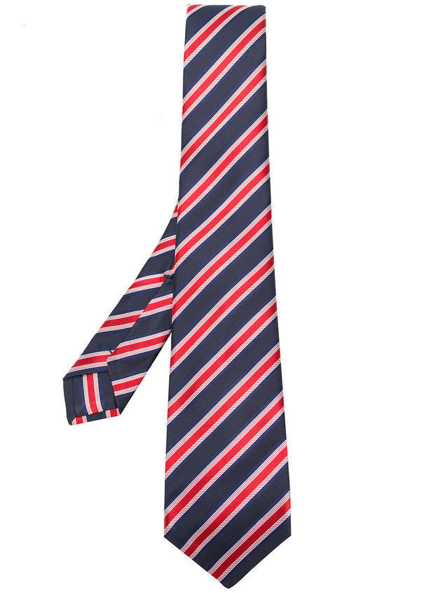 Kiton striped pattern tie - Blue