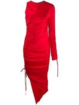 David Koma ruched asymmetric dress - Red