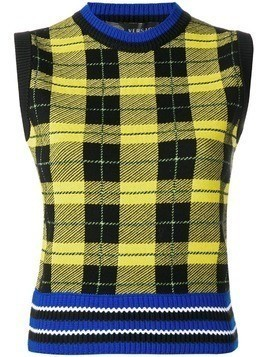 Versace check knit vest - Yellow