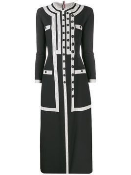 Thom Browne seersucker slit-detail dress - Black
