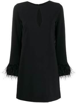 Blanca feather-trimmed shift dress - Black