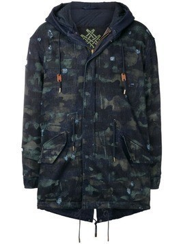 Mr & Mrs Italy distressed parka coat - Blue