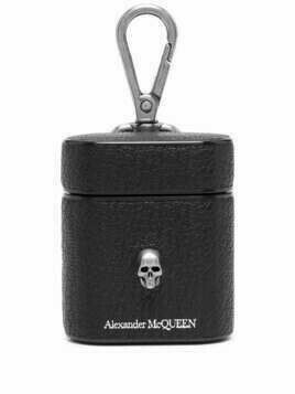 Alexander McQueen skull charm leather AirPods case - Black