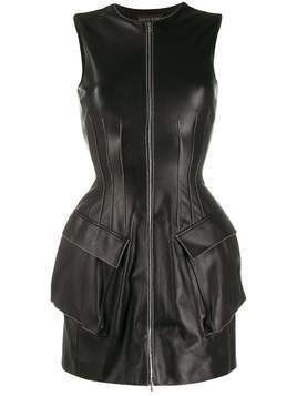 David Koma structured leather mini dress - Black