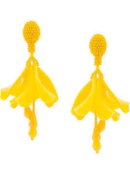Oscar de la Renta small Impatiens earrings - Yellow & Orange